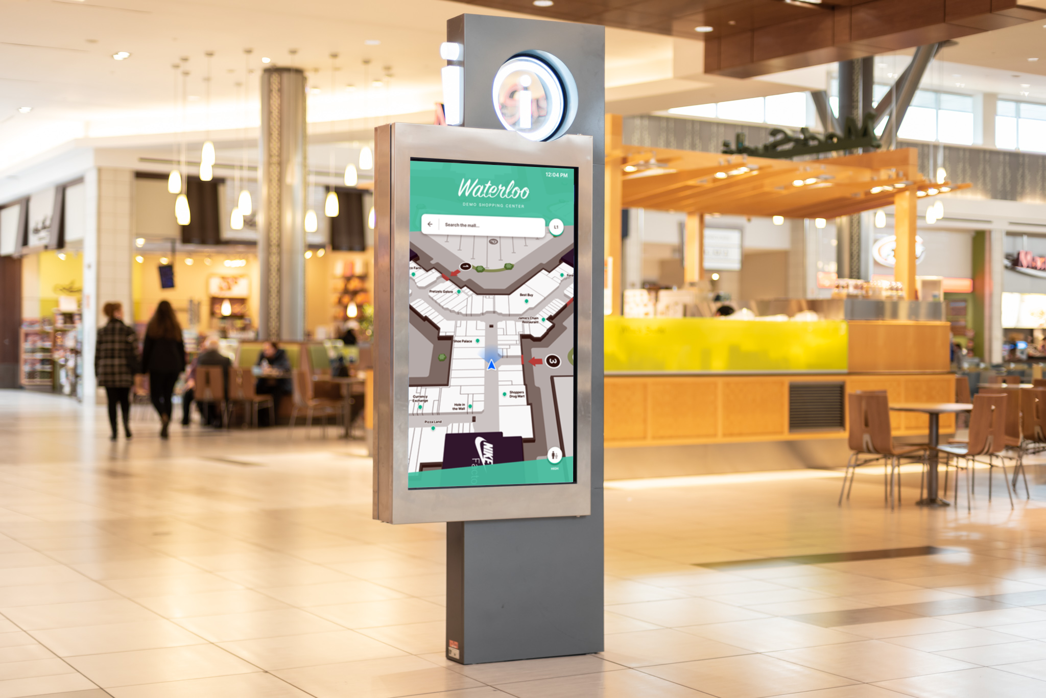 A search kiosk in a mall food court