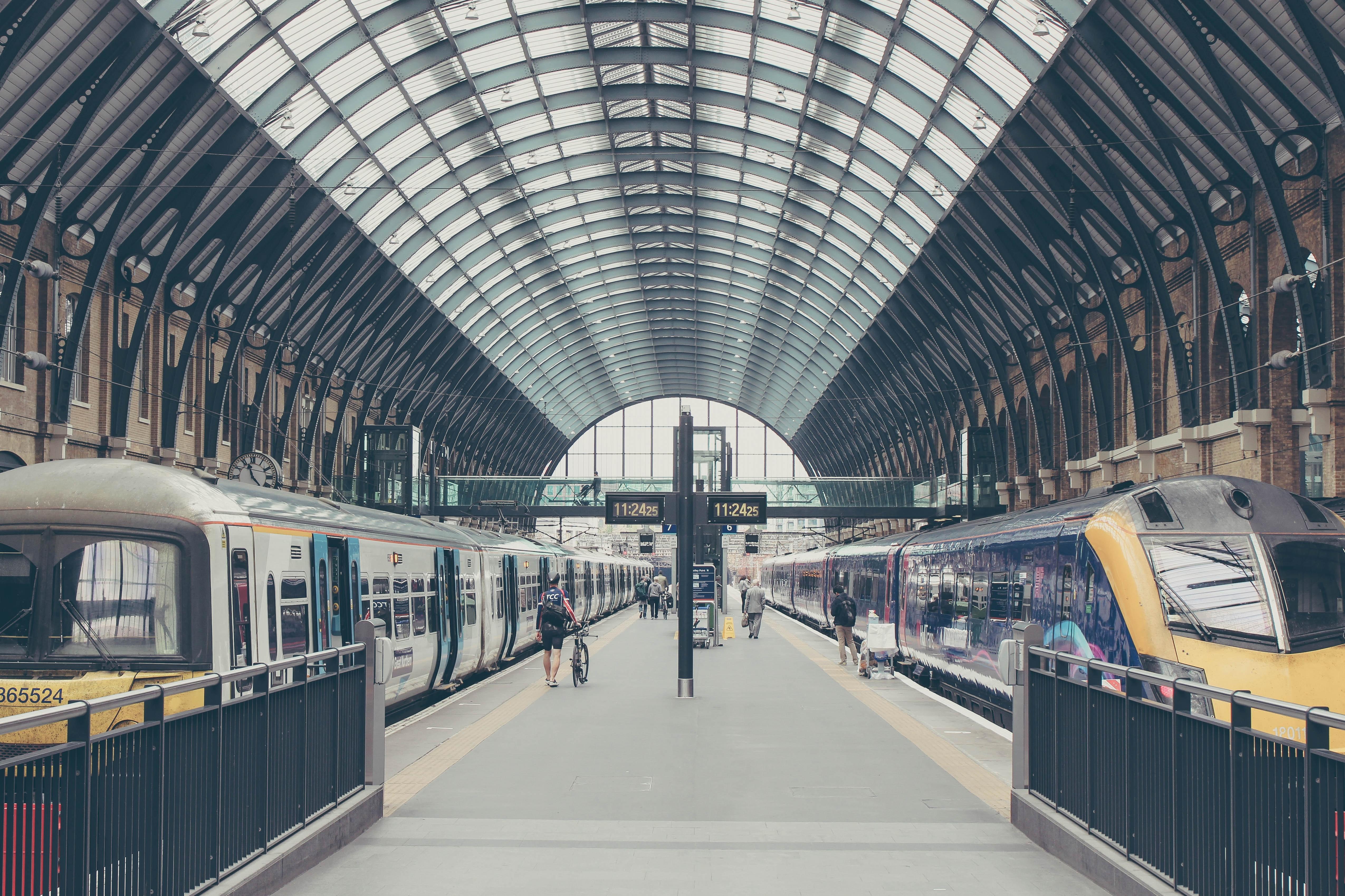 Train station platform at King's Cross, London, United Kingdom