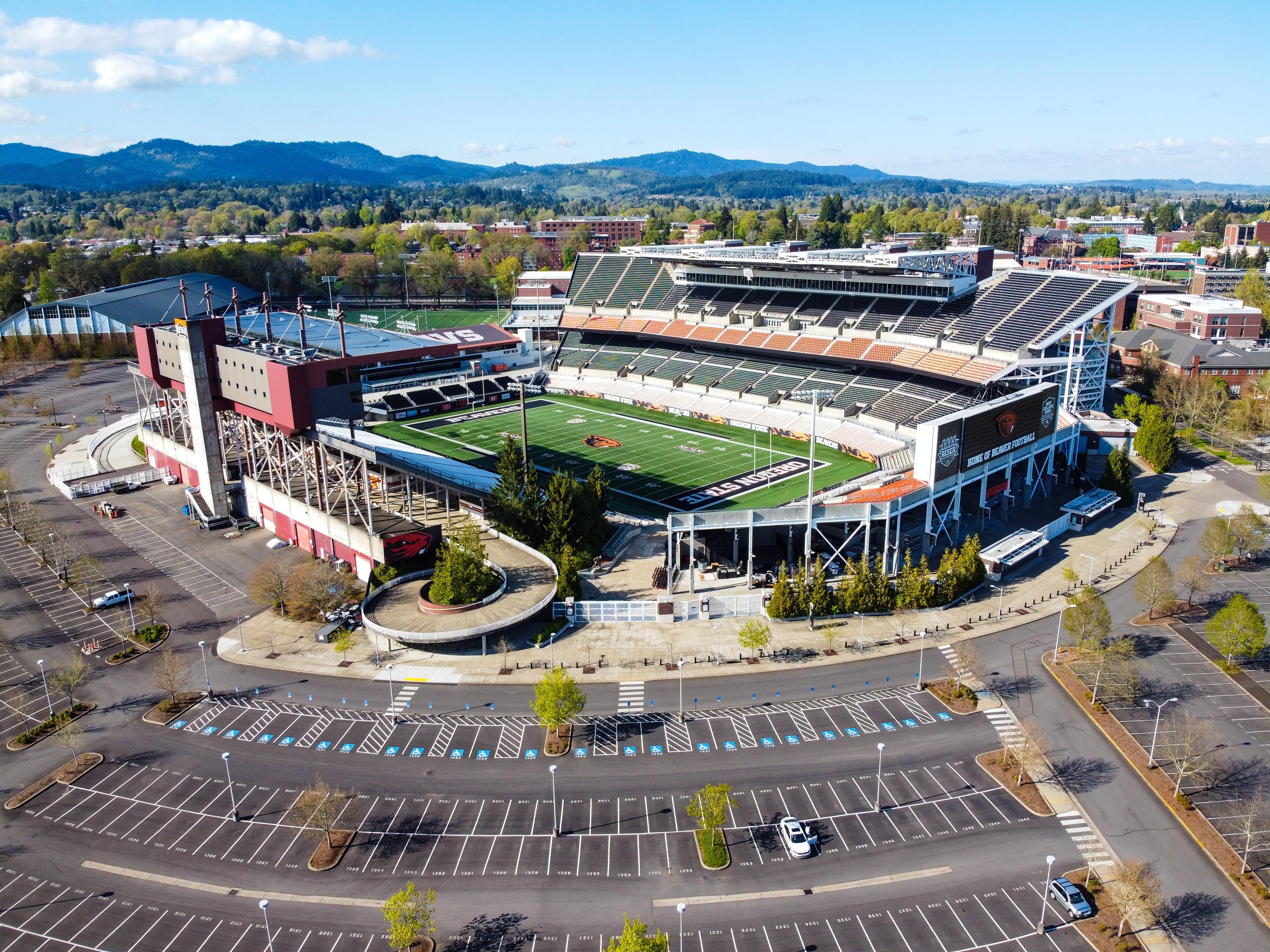 stadium and parking lot