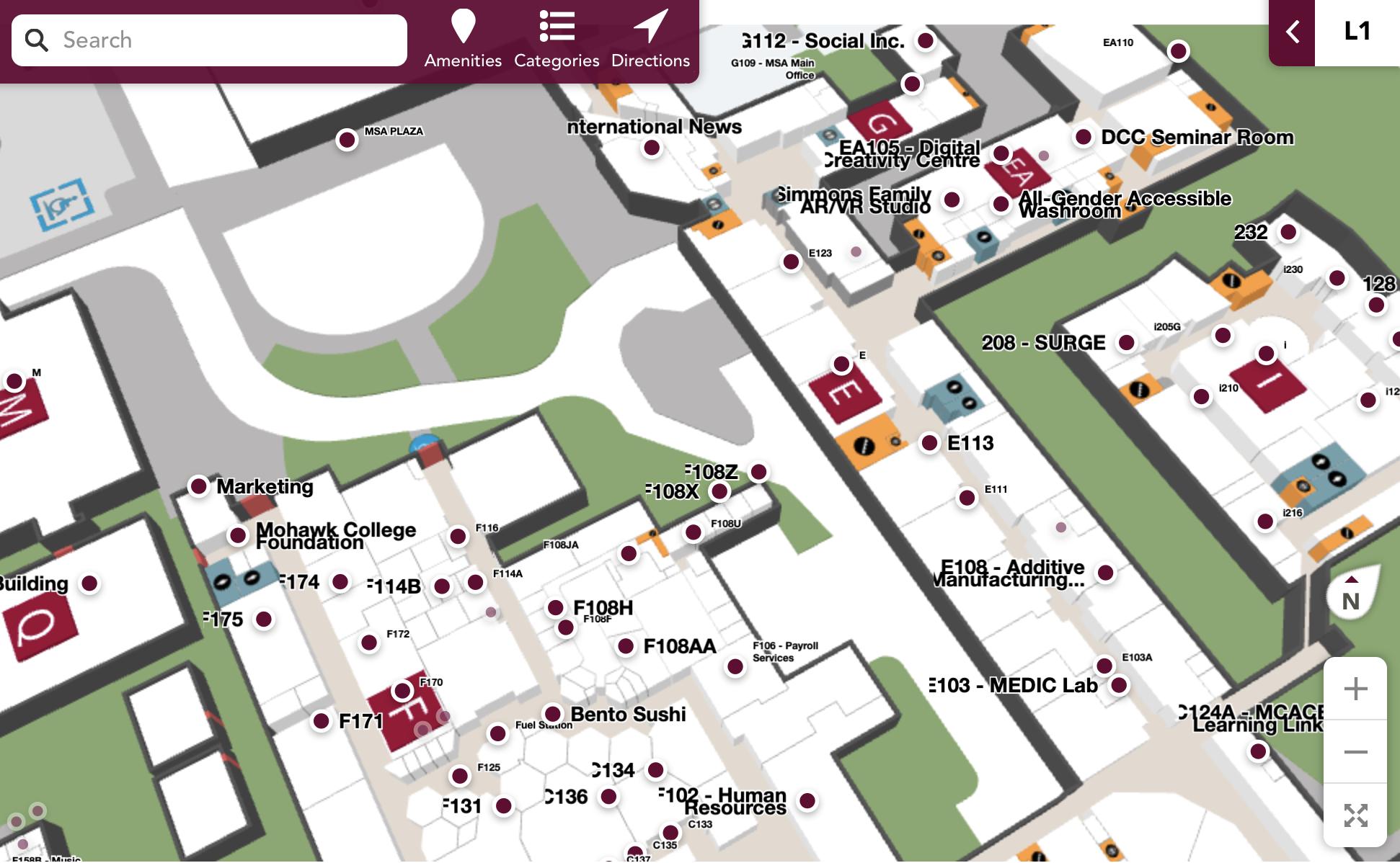 campus wayfinding map smart labels