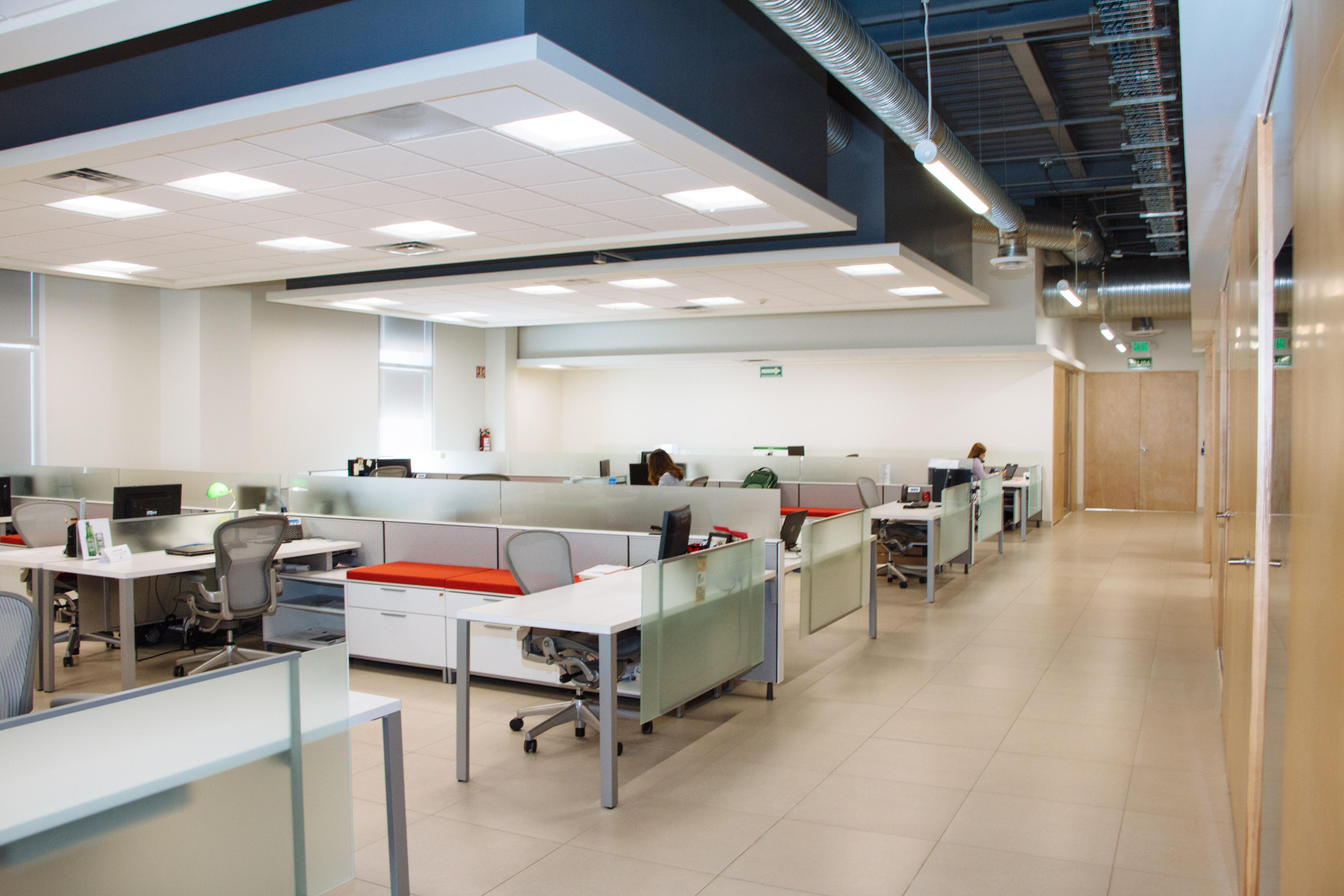 empty desks layout in office