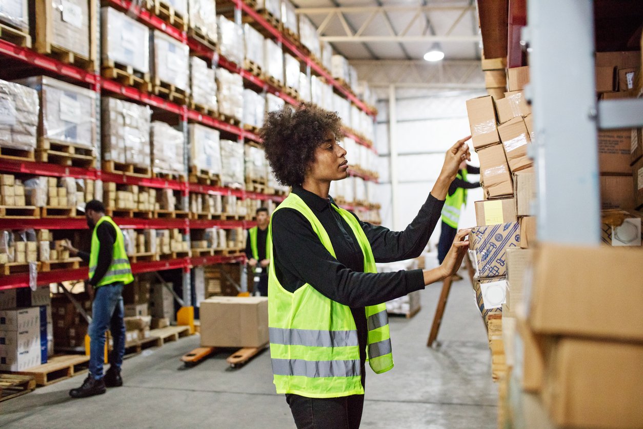 warehouse worker storing products