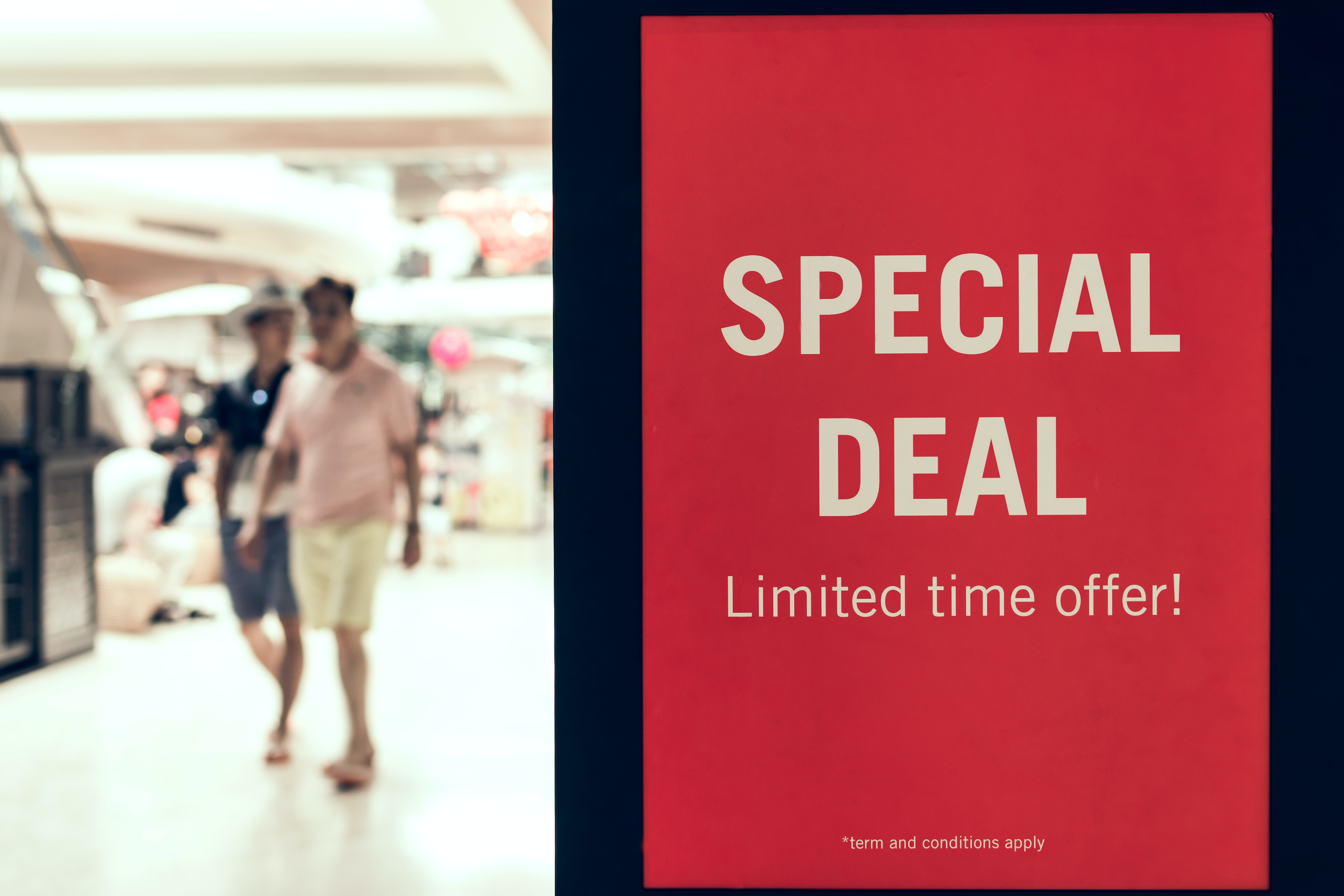 special deal sale sign in airport