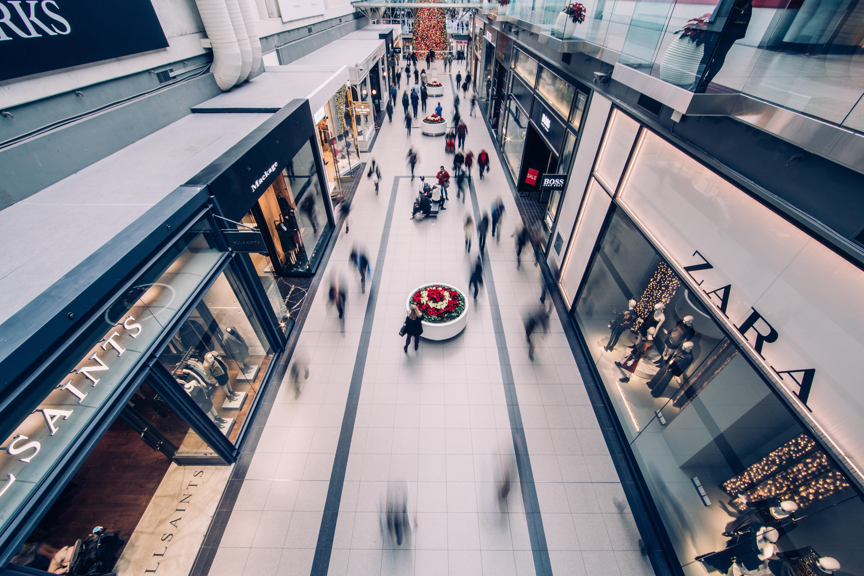walking through a shopping mall