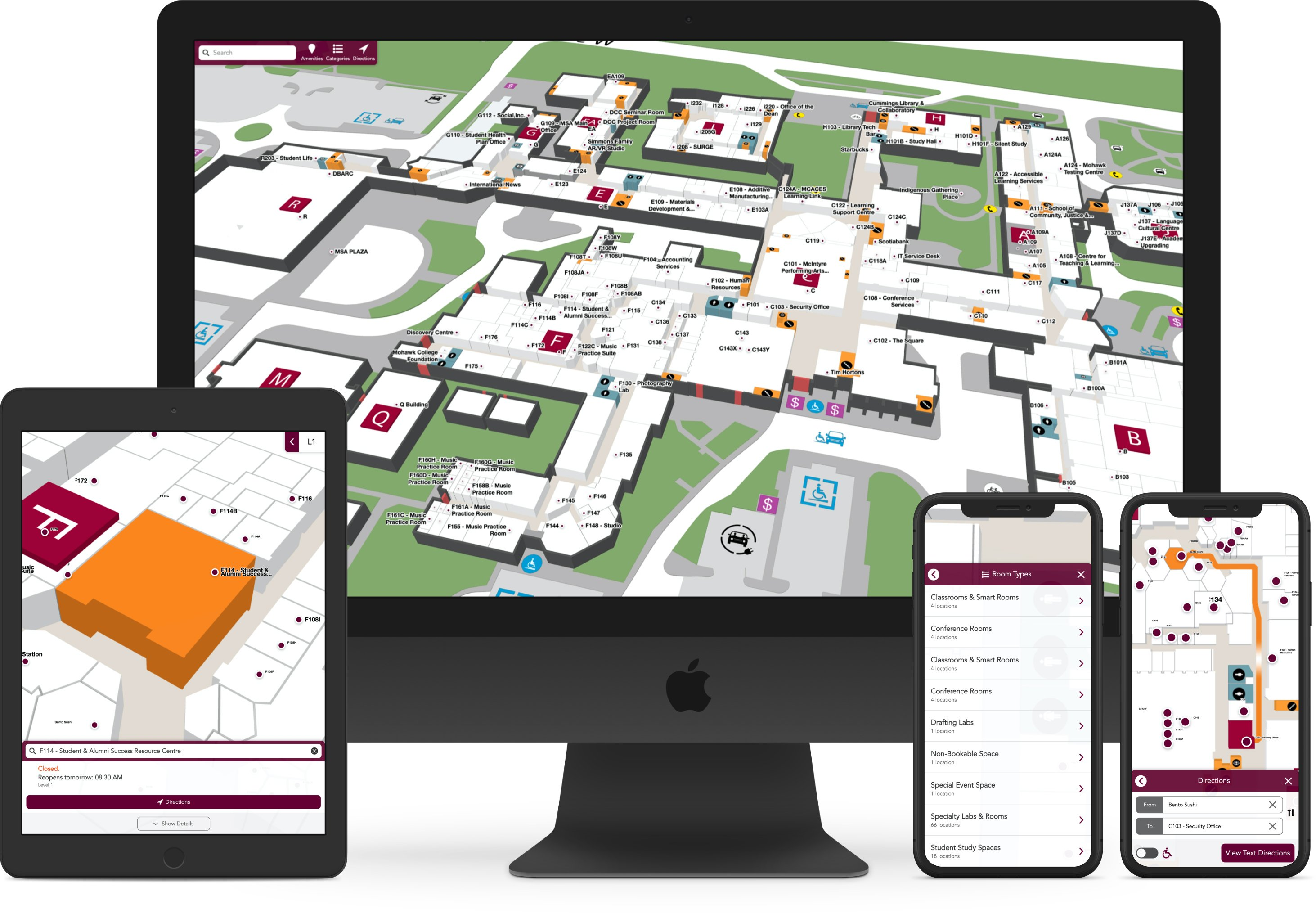 Mohawk College map across devices